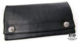 収納性のある クロムハーツ ロングウォレット クロスボタン ブラックレザー 使い勝手も良い財布.(hiibuy.com jGT59j)-3