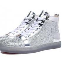 人気専門店CHRISTIAN LOUBOUTINクリスチャンルブタンスーパーコピー ハイカット スニーカー メンズ 靴 レザー シューズ シルバー(hiibuy.com 49Duyy)-1