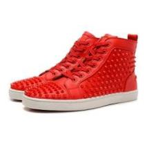Christian Louboutinクリスチャンルブタン偽物Louis high-top spike-embellished trainersスニーカー スパイクス ハイカット シューズ 靴レッド(hiibuy.com z8vKHn)